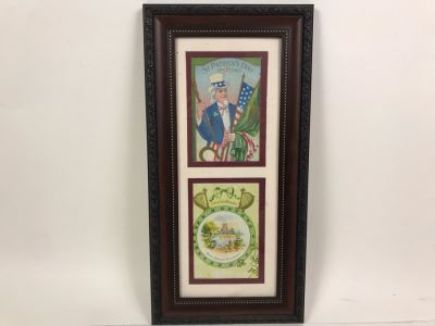 Pair Of Framed Antique Irish Postcards