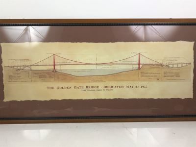 Framed Reproduction Architectural Drawings For The Golden Gate Bridge Dedicated May 27, 1937 41' X 18'