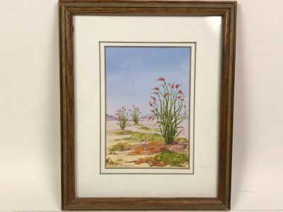 Framed Original Signed Watercolor Painting By Jillian Cameron Of Joshua Tree National Park 9' X 11'