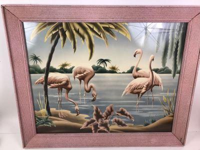 Vintage 1950's Pink Framed Flamingo Print By Turner Manufacturing Co 33' X 27'