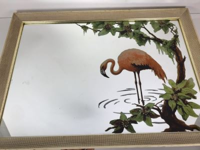 Vintage Flamingo Mirror 29' X 21'