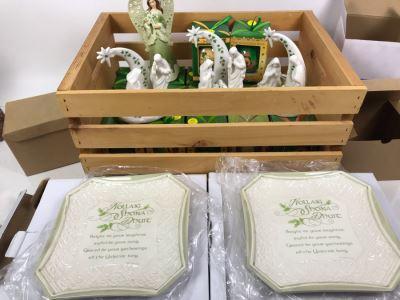 Wooden Crate, (17) New Irish Ornaments, (1) Irish Angel, (3) Irish Nativity Figurines And (2) Irish Christmas Plates With Metal Stands - Retails Over $300