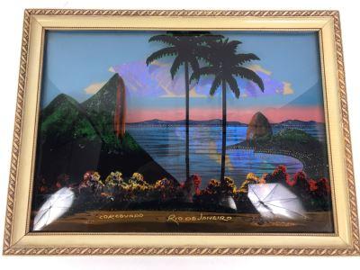 Vintage Corcovado Rio De Janeiro Bubbled Glass Butterfly Wings Framed Artwork 15' X 11'