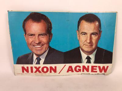 Vintage Nixon / Agnew Political Campaign Cardboard Poster Official Nixon Material 22' X 14'