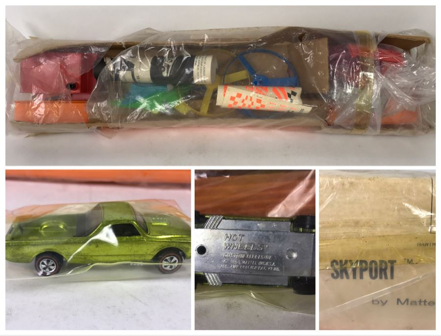 Vintage 1970 Mattel SkyPort With New 1968 Redline Hot Wheels Car Custom Fleetside Stock No. 10655 Missing Outer Box - See Photos [Photo 1]