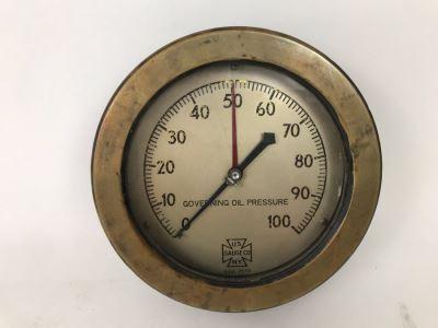 Vintage Brass Governing Oil Pressure Nautical Gauge By US Gauge Co N.Y. 7.5'W