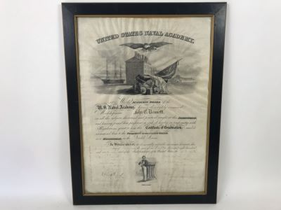 Antique 1864 Framed United States Naval Academy Certificate Of Graduation Diploma Of John C. Bennett As A Midshipman 18' X 23'