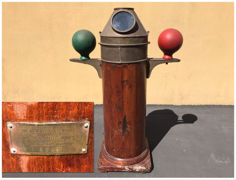 Vintage 1942 Binnacle From The SS Josiah Bartlett By Kelvin & Wilfrid O. White Co Nautical Instruments - This Item Has A Reserve Price
