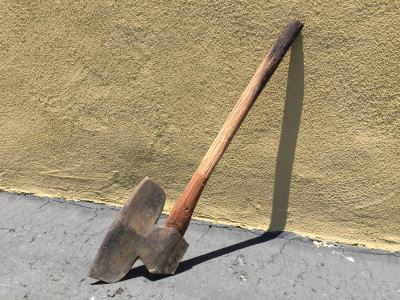 Vintage Wrought Iron Hatchet Axe With Wooden Handle