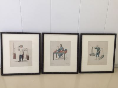 (3) Vintage Asian Prints In Bamboo Frames 18' X 16'