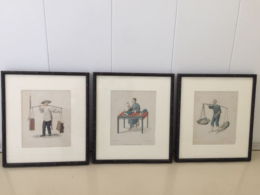 (3) Vintage Asian Prints In Bamboo Frames 18' X 16' [Photo 1]