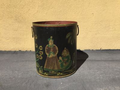 Vintage Asian Hand Painted Brass Metal Trash Bin Can