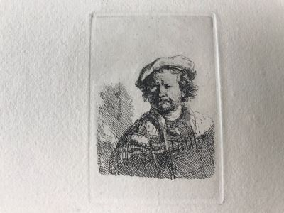 RARE Original Rembrandt Van Rijn Etching Titled 'Self Portrait In A Flat Cap And Embroidered Dress' Pressed In 1922 By Alex Eckener 2.5' X 3.5' Item Appraised At $7,732 Has A Reserve Price - See Description For More Info