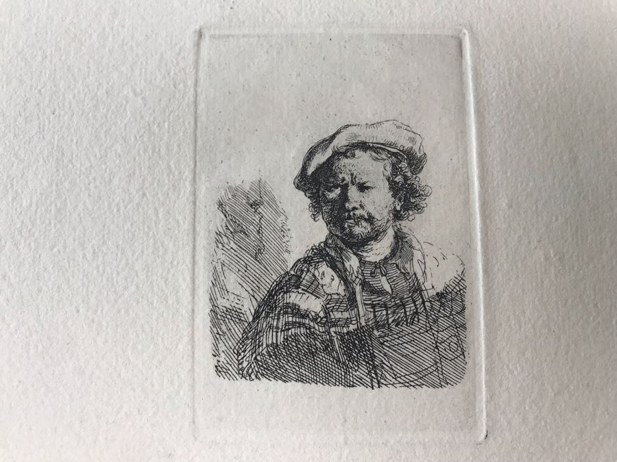 RARE Original Rembrandt Van Rijn Etching Titled 'Self Portrait In A Flat Cap And Embroidered Dress' Pressed In 1922 By Alex Eckener 2.5' X 3.5' Item Appraised At $7,732 Has A Reserve Price - See Description For More Info [Photo 1]