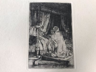 RARE Original Rembrandt Van Rijn Etching Titled 'David In Prayer' Pressed In 1922 By Alex Eckener 4' X 5.5' Item Appraised At $3,900 Has A Reserve Price - See Description For More Info
