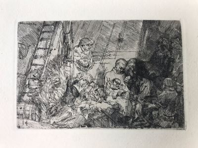 RARE Original Rembrandt Van Rijn Etching Titled 'The Circumcision In The Stable' Pressed In 1922 By Alex Eckener 5.5' X 3.75' Item Appraised At $5,400 Has A Reserve Price - See Description For More Info