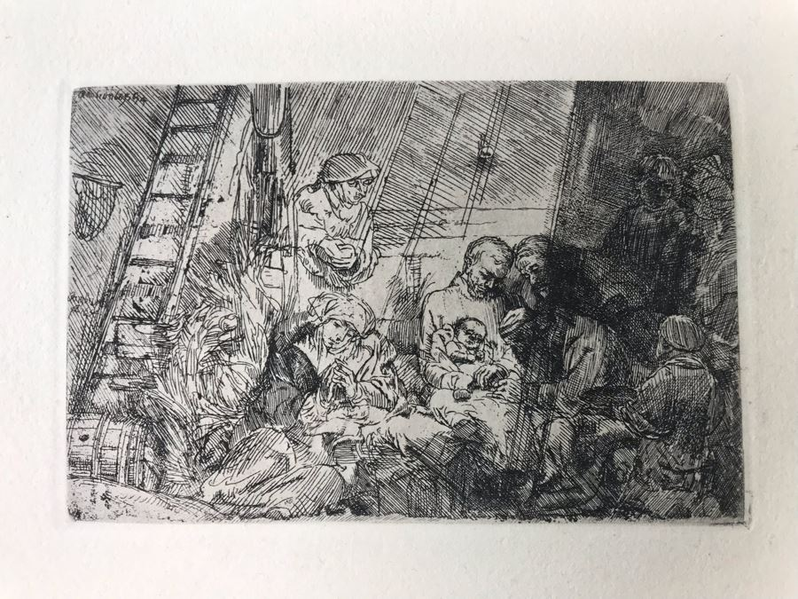 RARE Original Rembrandt Van Rijn Etching Titled 'The Circumcision In The Stable' Pressed In 1922 By Alex Eckener 5.5' X 3.75' Item Appraised At $5,400 Has A Reserve Price - See Description For More Info [Photo 1]