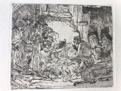 RARE Original Rembrandt Van Rijn Etching Titled 'Adoration Of The Shepherds With The Lamp' Pressed In 1922 By Alex Eckener 5' X 4' - Item Appraised At $5,400 Has A Reserve Price - See Description For More Info
