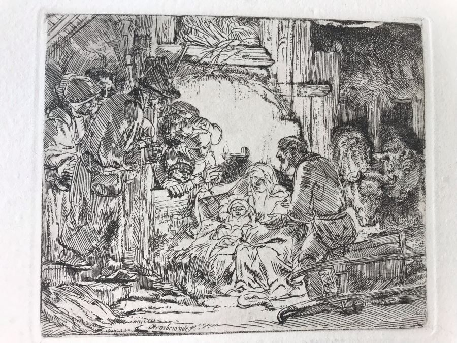 RARE Original Rembrandt Van Rijn Etching Titled 'Adoration Of The Shepherds With The Lamp' Pressed In 1922 By Alex Eckener 5' X 4' - Item Appraised At $5,400 Has A Reserve Price - See Description For More Info [Photo 1]
