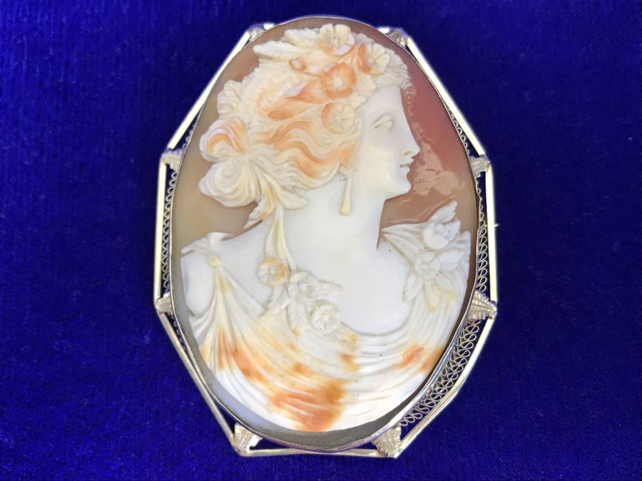 """Antique 14K Gold Carved Shell Cameo Brooch Pin 21.4g 2.5"""" X 2"""" [Photo 1]"""