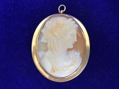 "Antique 14K Gold Carved Shell Cameo Brooch Pin 11.2g 1.75"" X 1.5"""