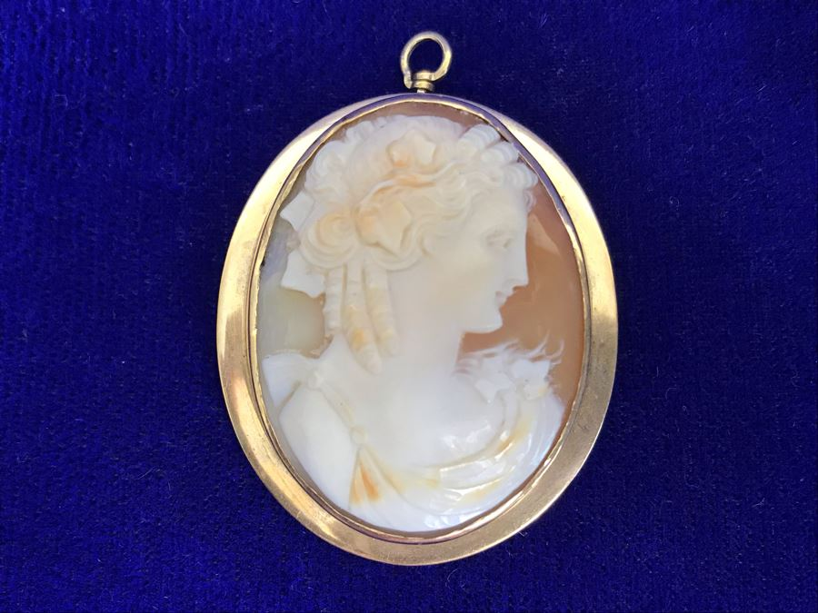 """Antique 14K Gold Carved Shell Cameo Brooch Pin 11.2g 1.75"""" X 1.5"""" [Photo 1]"""