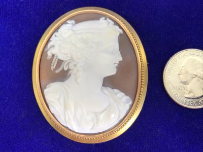 "Antique 14K Gold Carved Shell Cameo Brooch Pin 18.7g 2.75"" X 2"""
