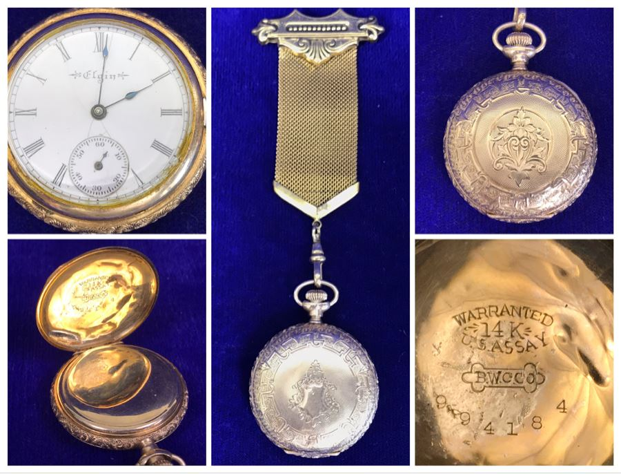 Antique 1867-1881 Elgin 14K Gold Case Pocket Watch 15 Jewels With Brooch Pin Holder - Pocket Watch Alone Weighs 30.1g [Photo 1]