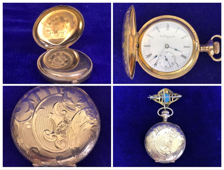 Antique 1901-1903 Elgin Pocket Watch Gold Filled 20 Year Case With Brooch Pin Holder Estimate $350 [Photo 1]