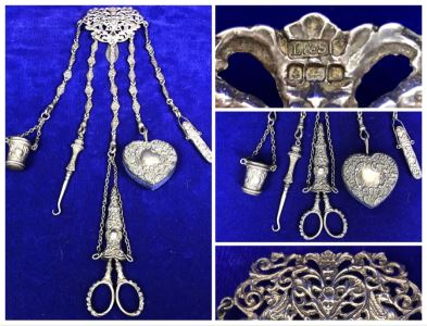 Antique 1900 Victorian Sterling Silver Chatelaine Sewing Kit Belt With Scissors, Thimble, Needle Case Holder, Pin Cushion And Buttonhook Signed L & S 106.9g