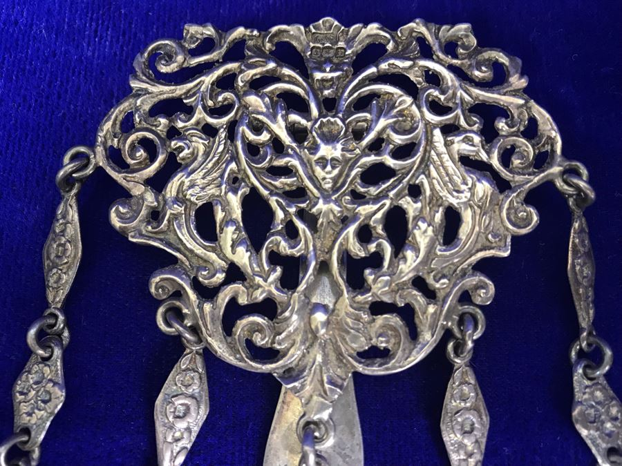Antique 1900 Victorian Sterling Silver Chatelaine Sewing