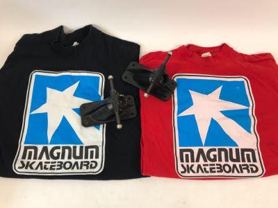Pair Of Vintage Early Magnum Hi Energy Skateboard Trucks And Vintage Magnum Skateboard T-Shirts