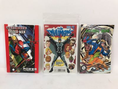 (3) Comic Books: Ultimate Spider-Man Power And Responsibility, The Inhumans #1 And Animal Man