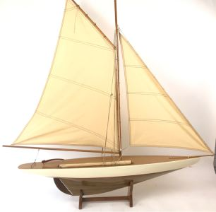 Large Wooden Sailboat Ship Model With Wooden Stand 40'W X 40'H