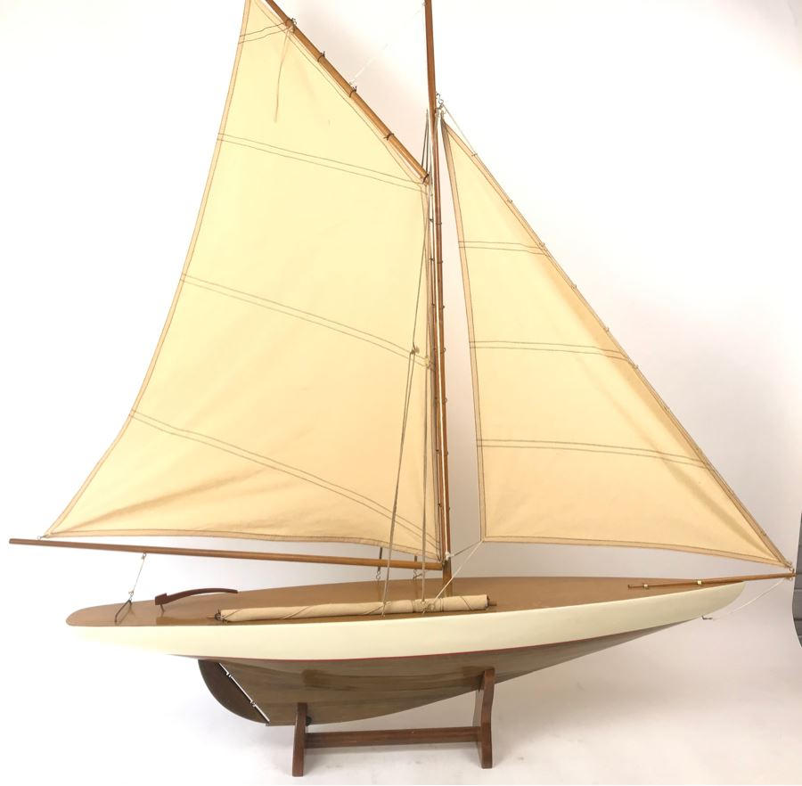 Large Wooden Sailboat Ship Model With Wooden Stand 40'W X 40'H [Photo 1]