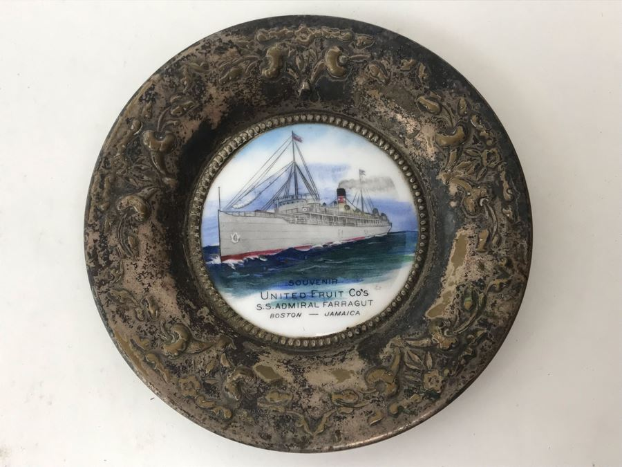 Vintage Paris France O'Hara Dial Co Waltham Mass Silverplate Tray Dish With Ship Painting Titled Souvenir United Fruit Co's S.S. Admiral Farragut Boston - Jamaica 4.25'R [Photo 1]