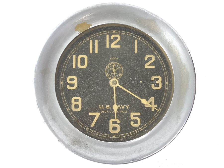 Vintage Brass U.S. NAVY Deck Clock No. 3 Made By Chelsea Clock Co. Boston Mass USA With Serial Number 7'R [Photo 1]