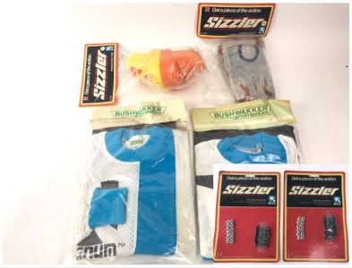 Various New Old Stock Mattel Sizzler Magnum Items Including Hardware, BMX Jerseys, Knee Pads And Gloves - See Photos