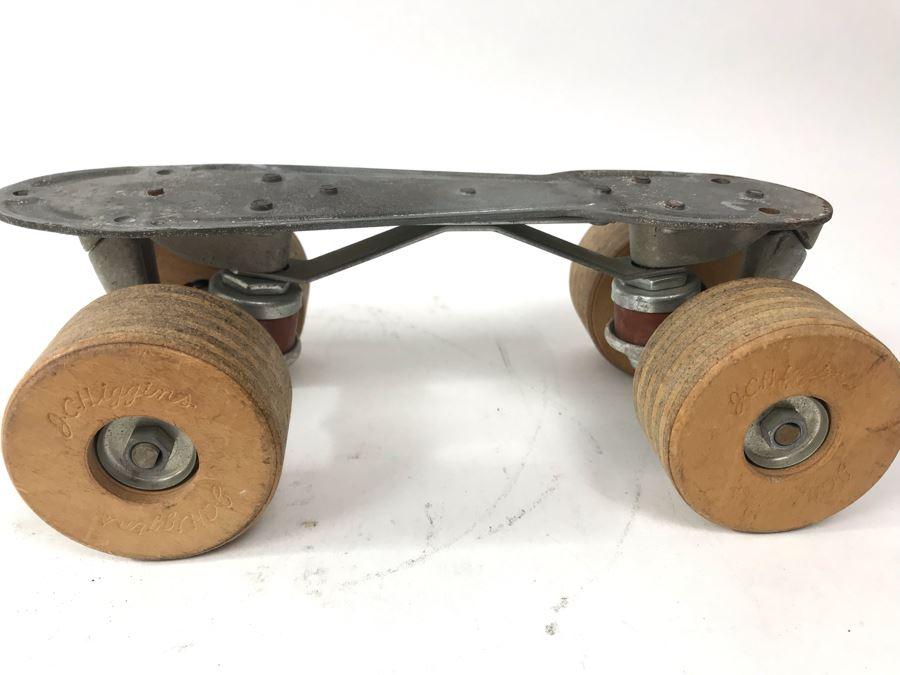 Vintage J.C. Higgins Metal Roller Skate With Wooden Wheels Incredible Ball Bearings [Photo 1]