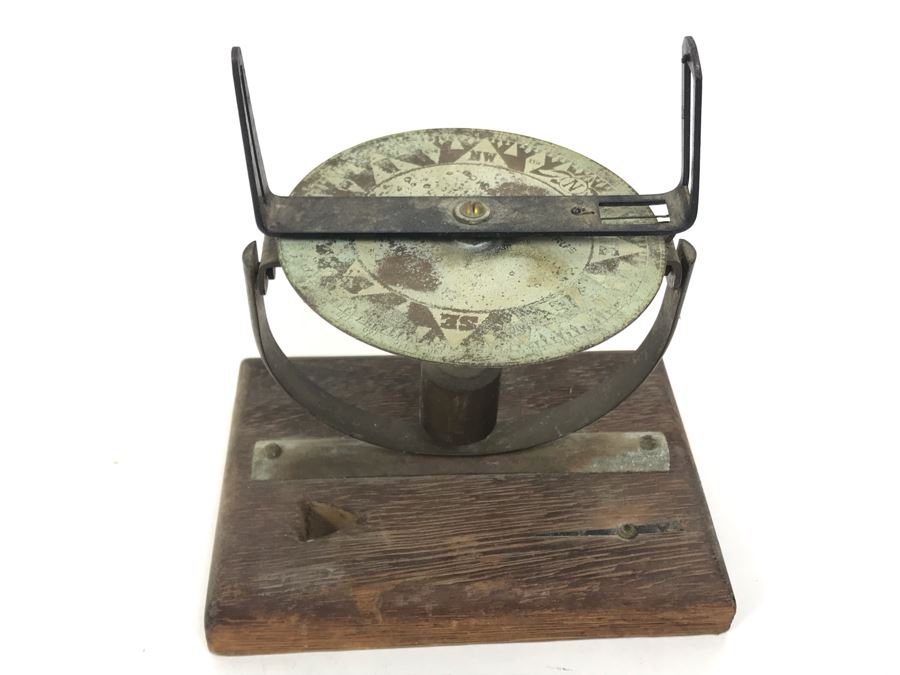 Vintage Nautical Compass Parts Sculpture On Wooden Base [Photo 1]