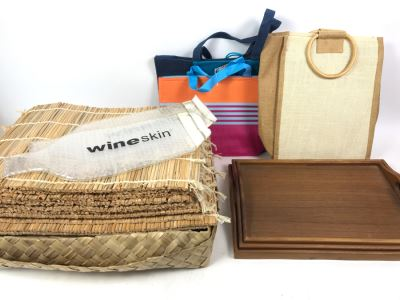 Various Placemats, Wooden Trays And Bags