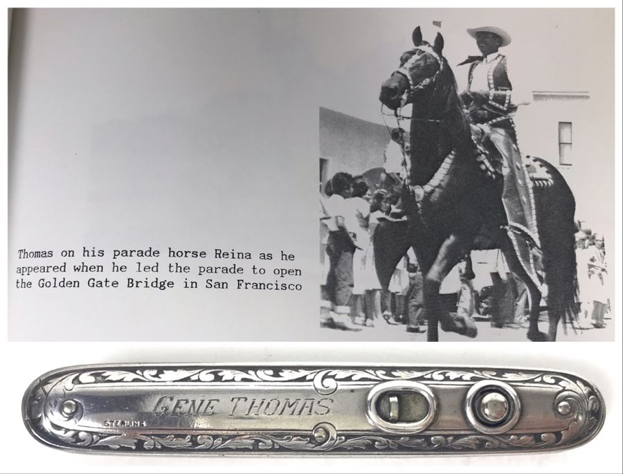 Sterling Silver Pocket Knife Of Gene Thomas Early Pioneer Orange County Rancher Who Led Parade To Open The Golden Gate Bridge In San Francisco 45.3g [Photo 1]