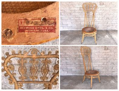 Antique 1871 Early Heywood Bros. & Co. (Now Heywood Wakefield) Ornate Wicker High Back Chair - Cane Seat Needs Repair