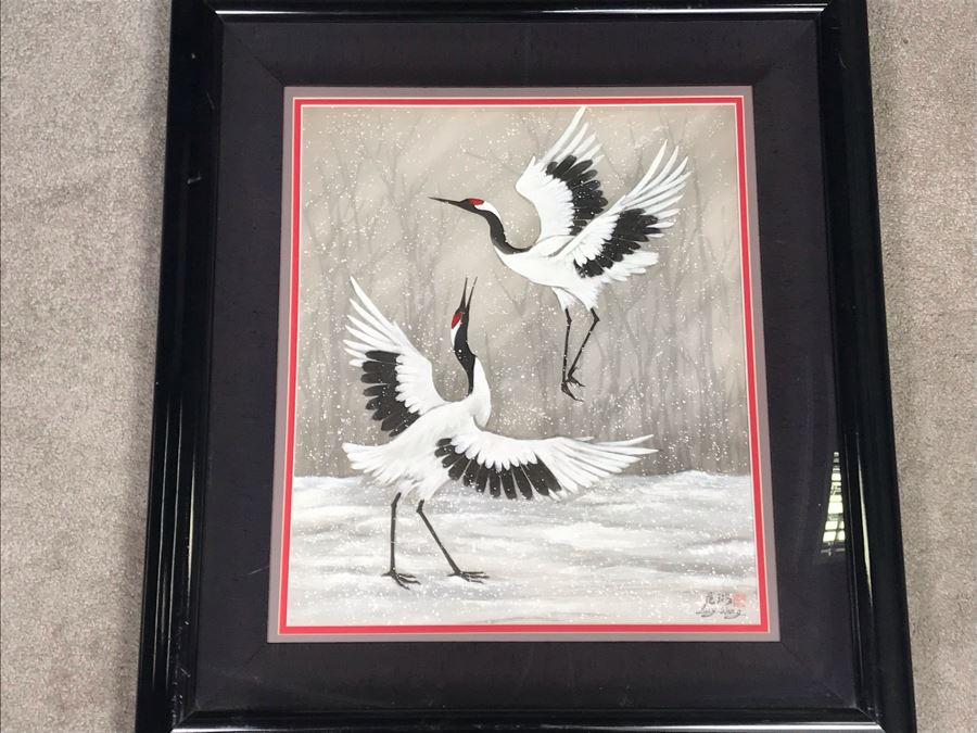 Original Chinese Signed Lucy Wang 3-Dimensional Watercolor On Silk Painting Dancing Red Crowned Cranes 27' X 27' Retails $2,600 [Photo 1]