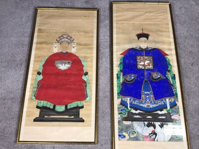 Pair Of Framed Antique Original Chinese Ancestor Scrolls Paintings Ancestral Portraits Man Is 30' X 50'