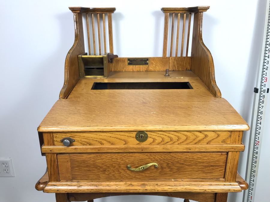 Antique Oak Cashiers Money Tray In Common Use Before Cash Registers 1916 Patent Date By The Cashier Cash Register Company [Photo 1]