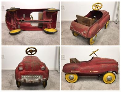 Original Vintage Mid-Century Murray Pressed Steel Pedal Car Working Chain Driven Minimal Rust