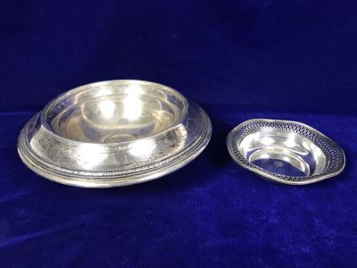 Pair Of Sterling Silver Items - Trinket Dish And Footed Bowl - 63g Unweighted + 307g Weighted Sterling