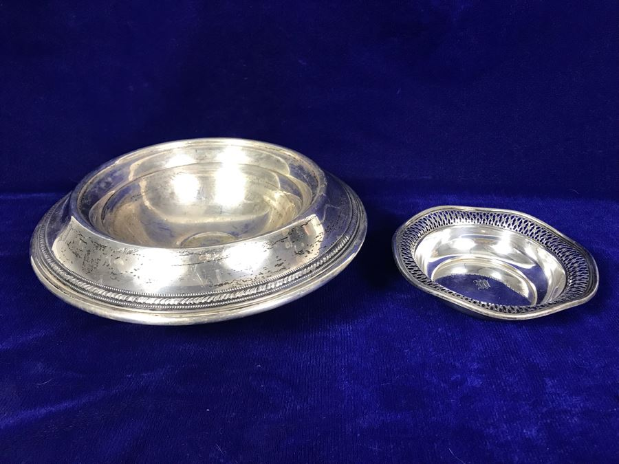 Pair Of Sterling Silver Items - Trinket Dish And Footed Bowl - 63g Unweighted + 307g Weighted Sterling [Photo 1]