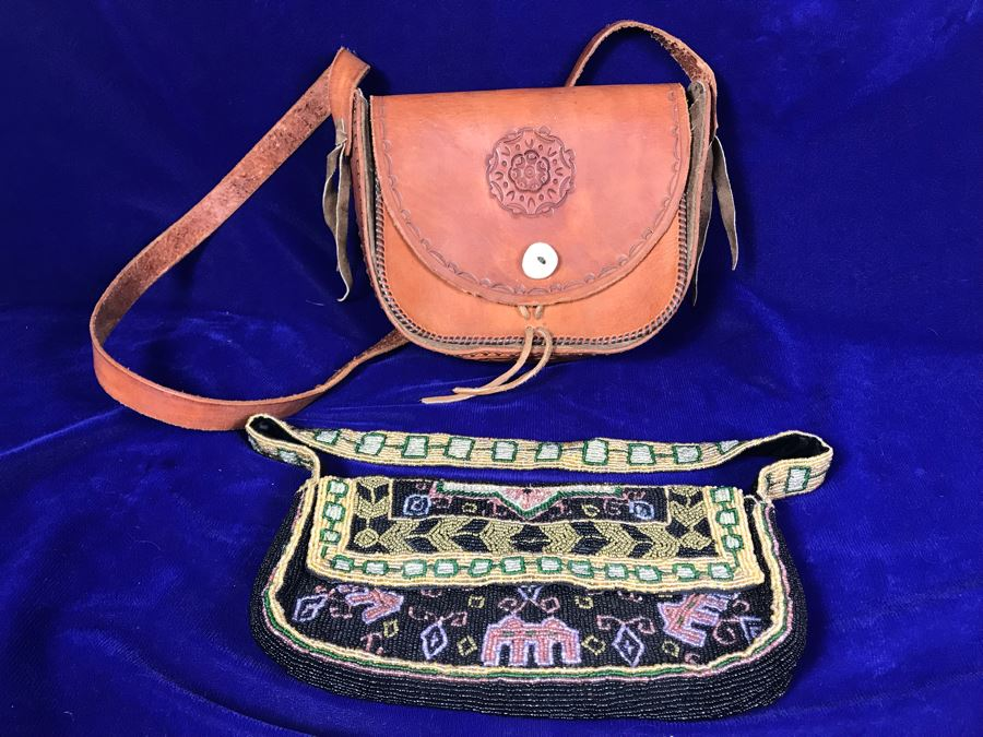 Indian Beaded Purse By Christiana And Tooled Leather Handbag [Photo 1]